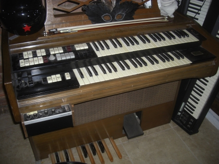 The pedals on a Wurlitzer organ...
